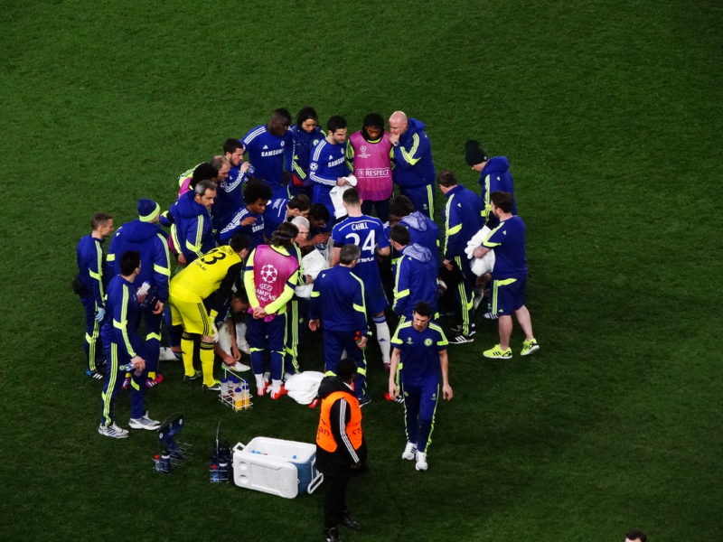Chelsea players in a huddle