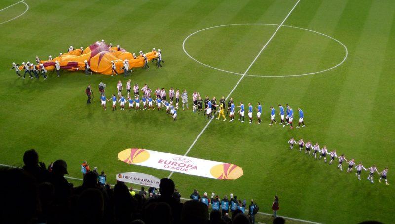 The start of a Europa League match