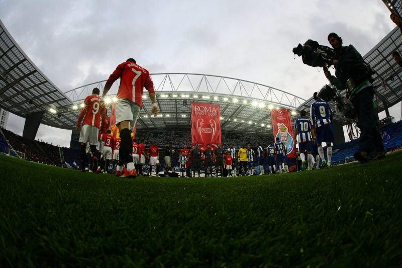 Players entering on the pitch before a game