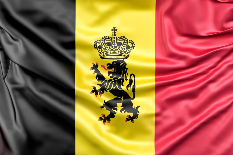 Belgian flag with a coat of arms