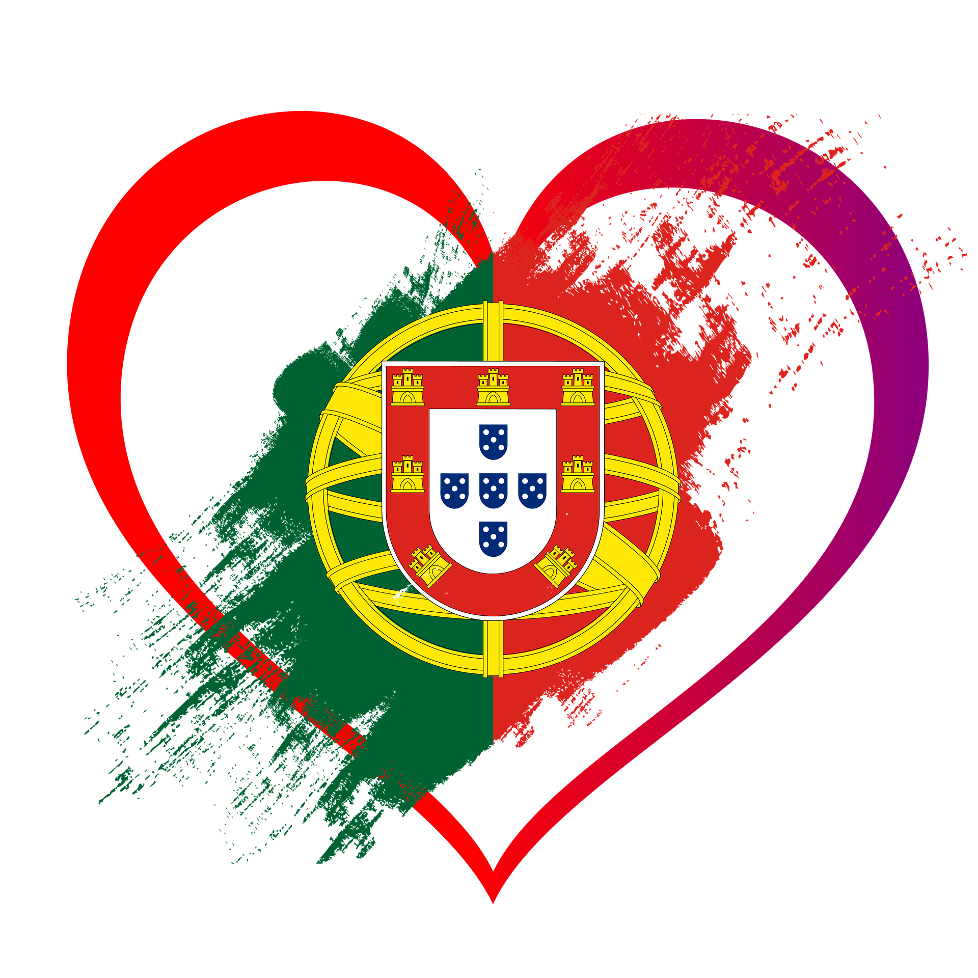 Portugal's coat of arms inside a heart