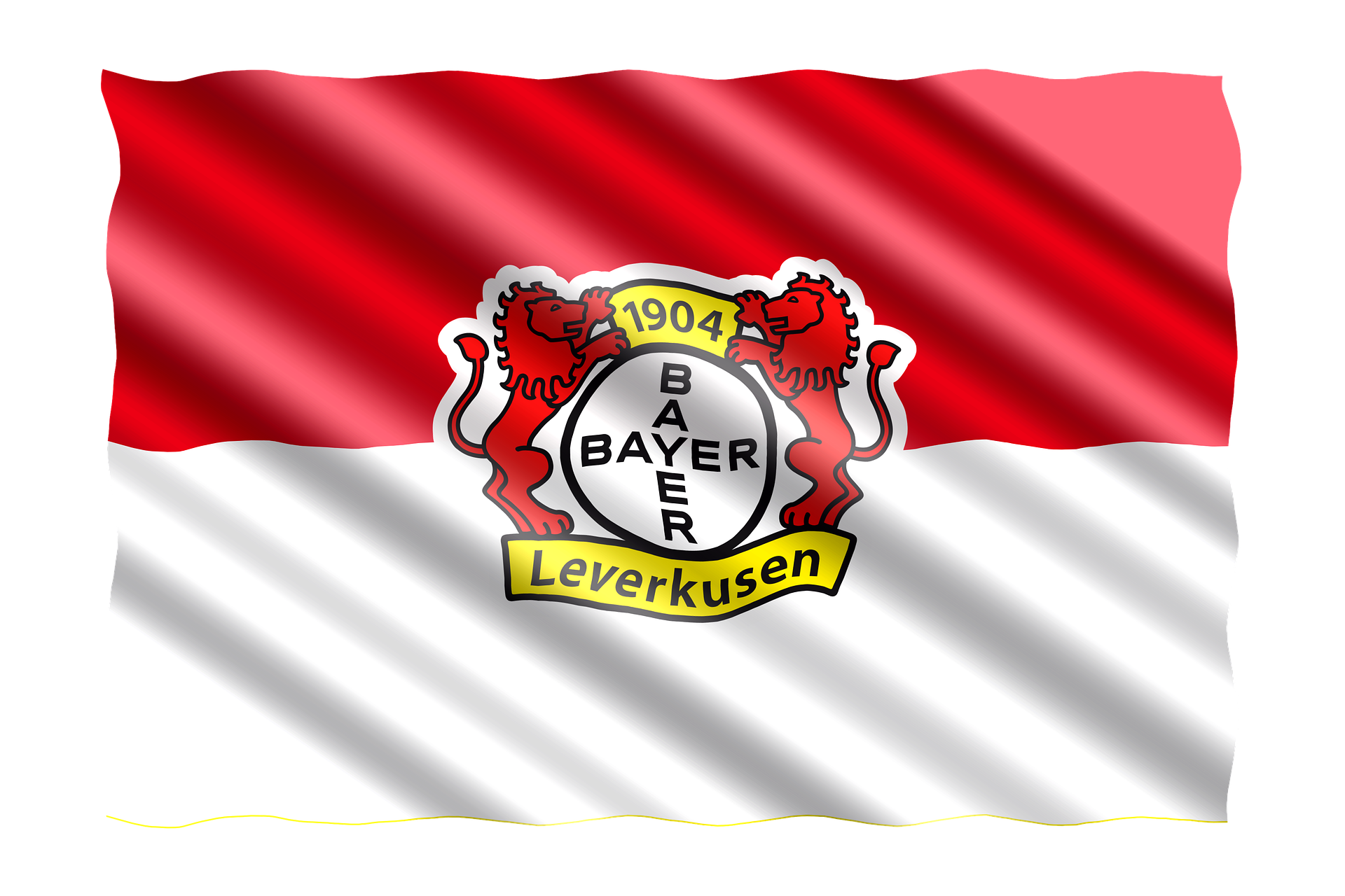 The Flag of Bayer Leverkusen with a logo