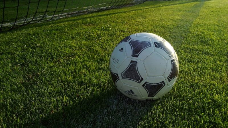 A football near a goal in the afternoon