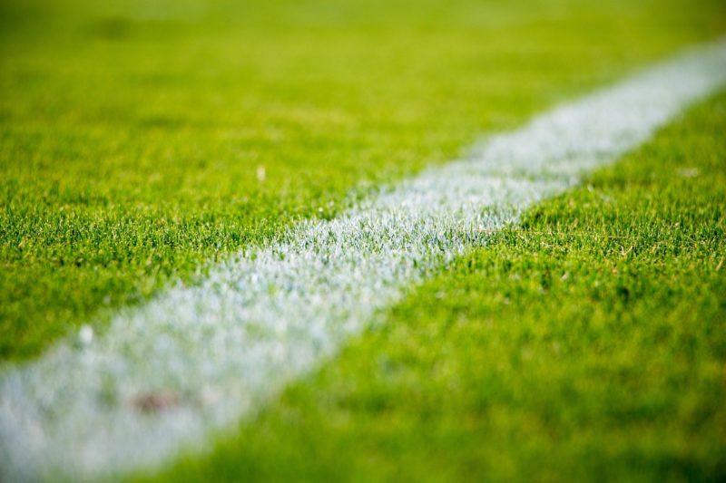 White streak on the football pitch