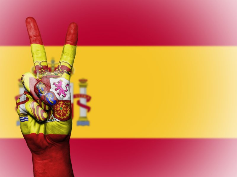 Spanish flag with a peace sign
