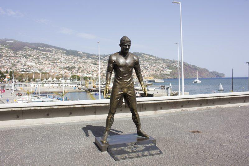 A bronze statue of Cristiano Ronaldo