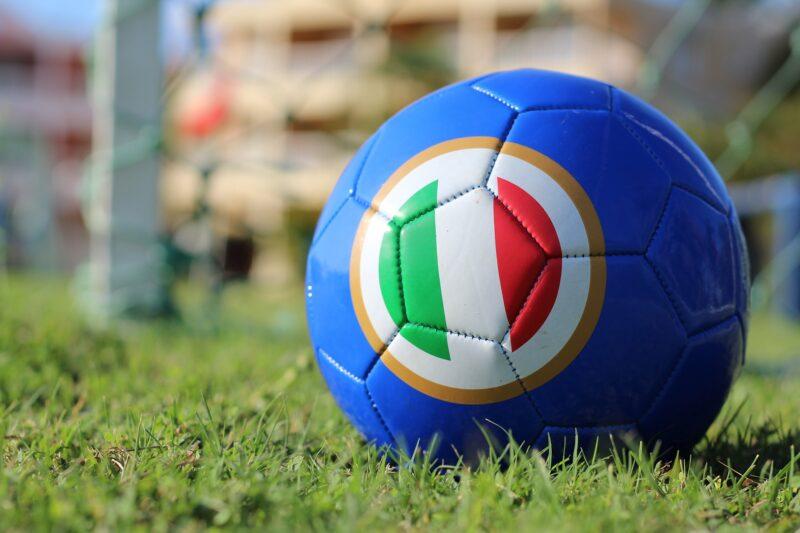 A football with the Italian flag