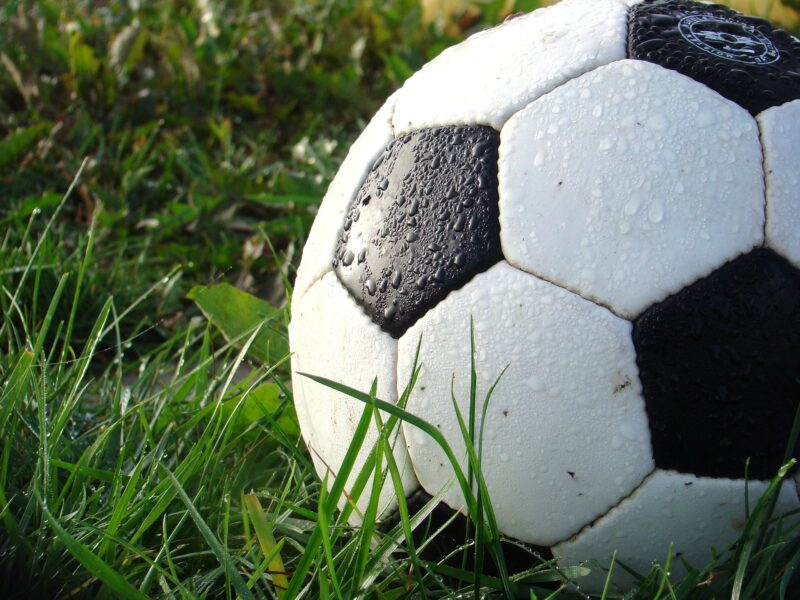 A closeup of a wet football in the grass