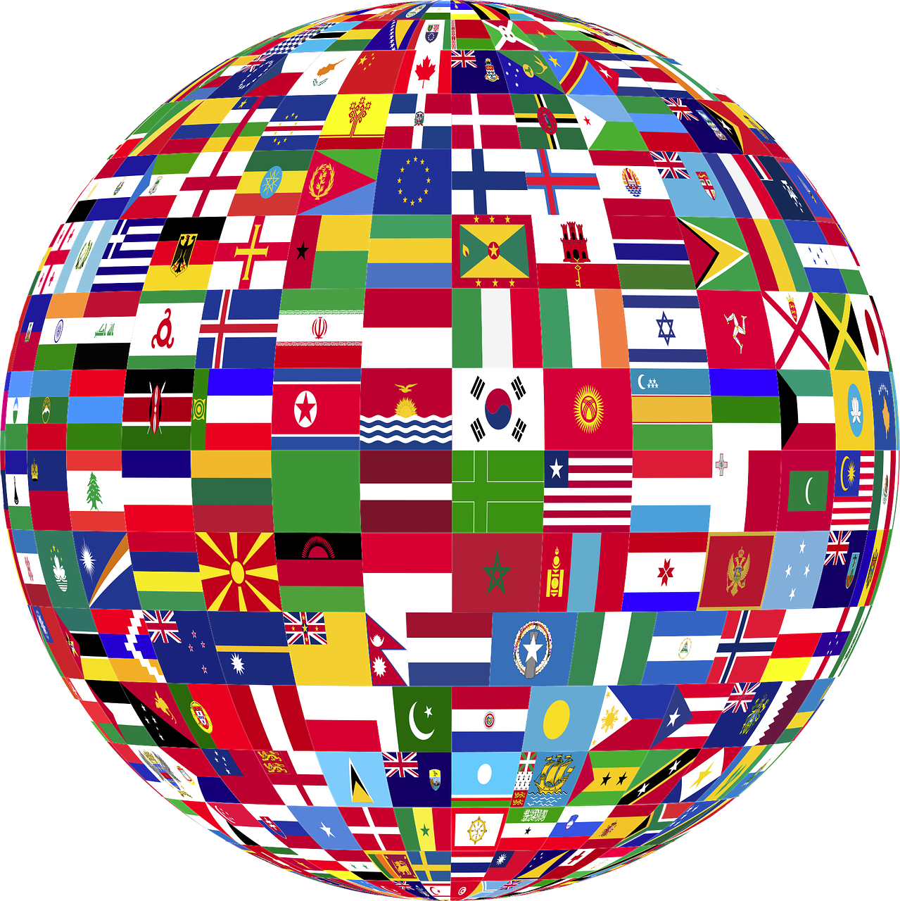 The globe made up of flags of various nations