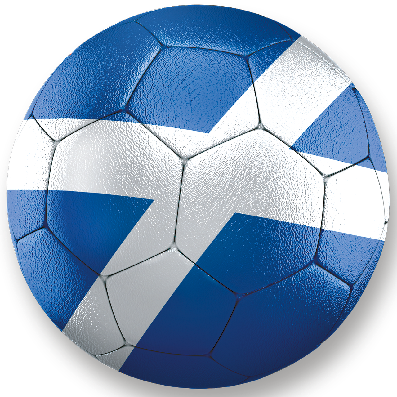 A football with a Scottish flag