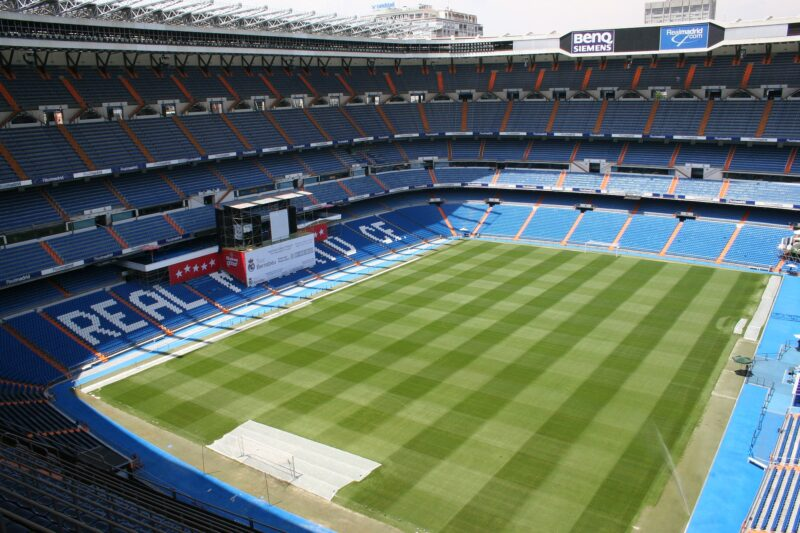 Real Madrid's stadium seen from the top corner