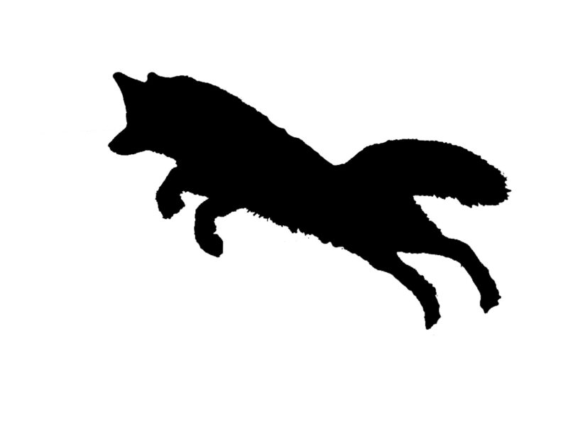 A silhouette of a fox pouncing