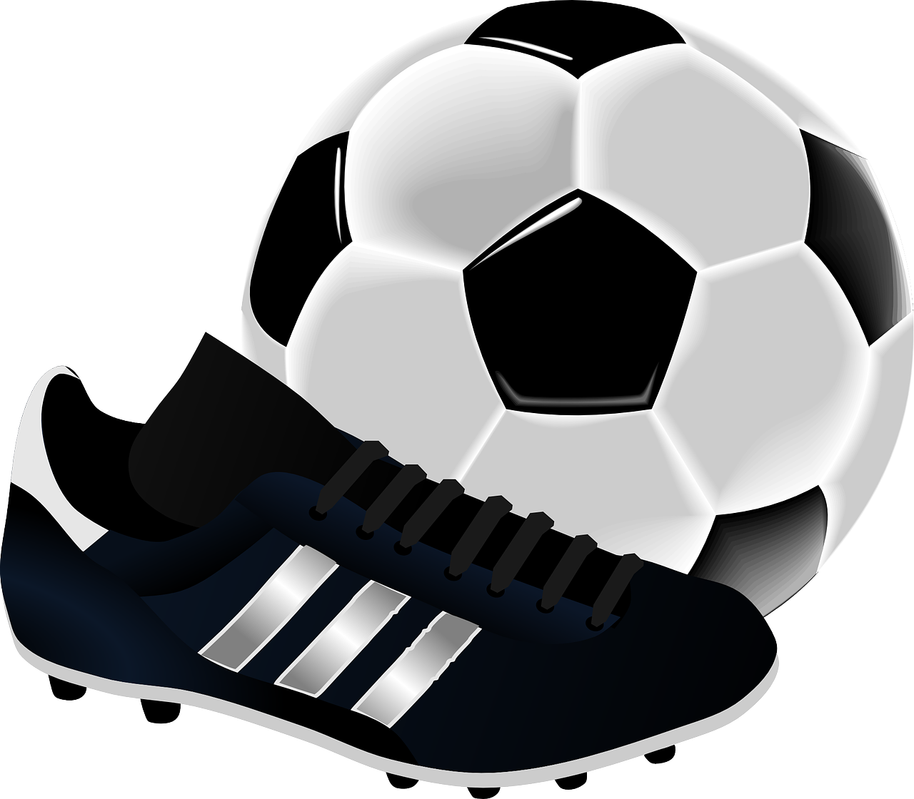 A shoe in front of a football