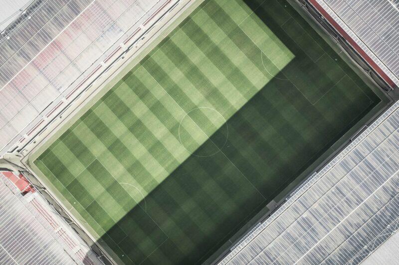 An empty stadium from a bird's-eye view