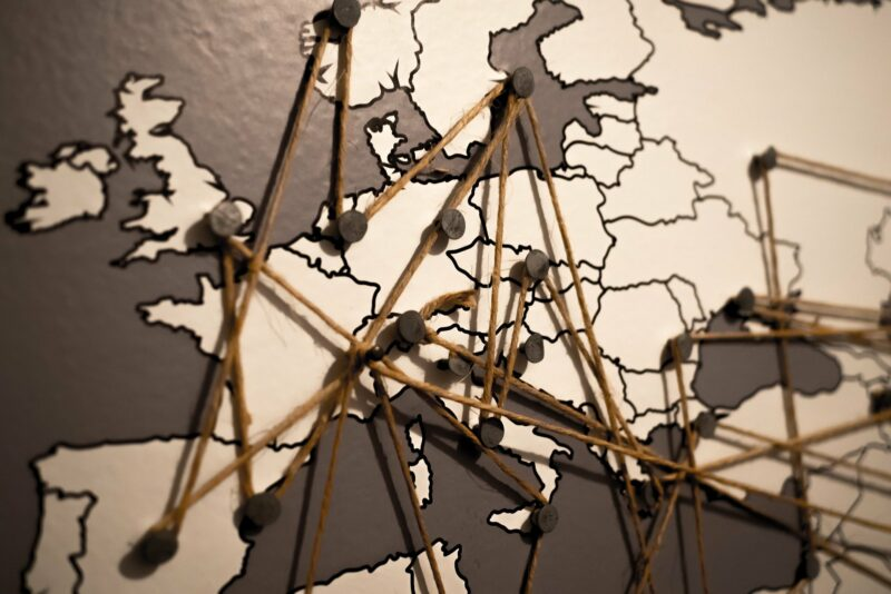 A strategic map of europe with nails and rope