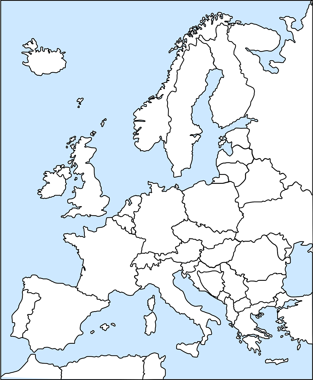 White on blue map of Europe