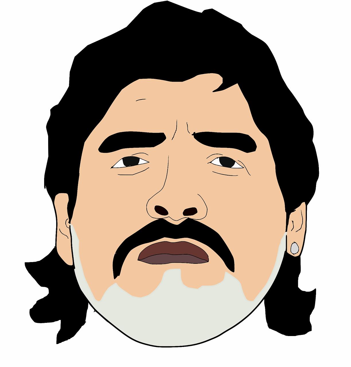 A drawing of Diego Maradona